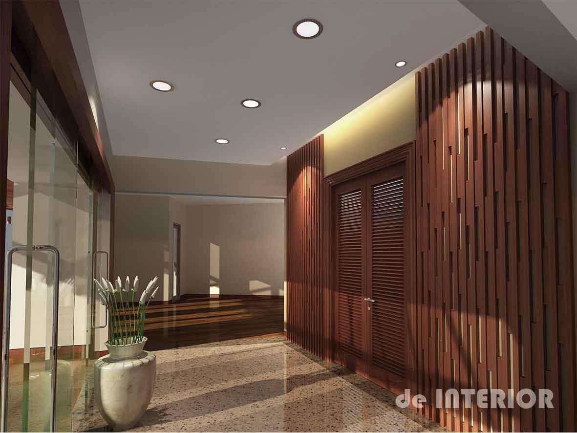 Foyer dengan dekorasi dinding kayu